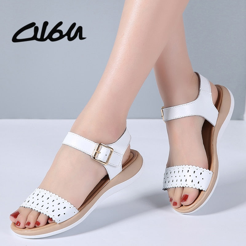 2018 Women T Strap Leather Sandals Shoes