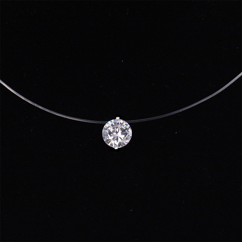 Women Transparent Fishing Line Necklace Silver Invisible Chain Necklaces