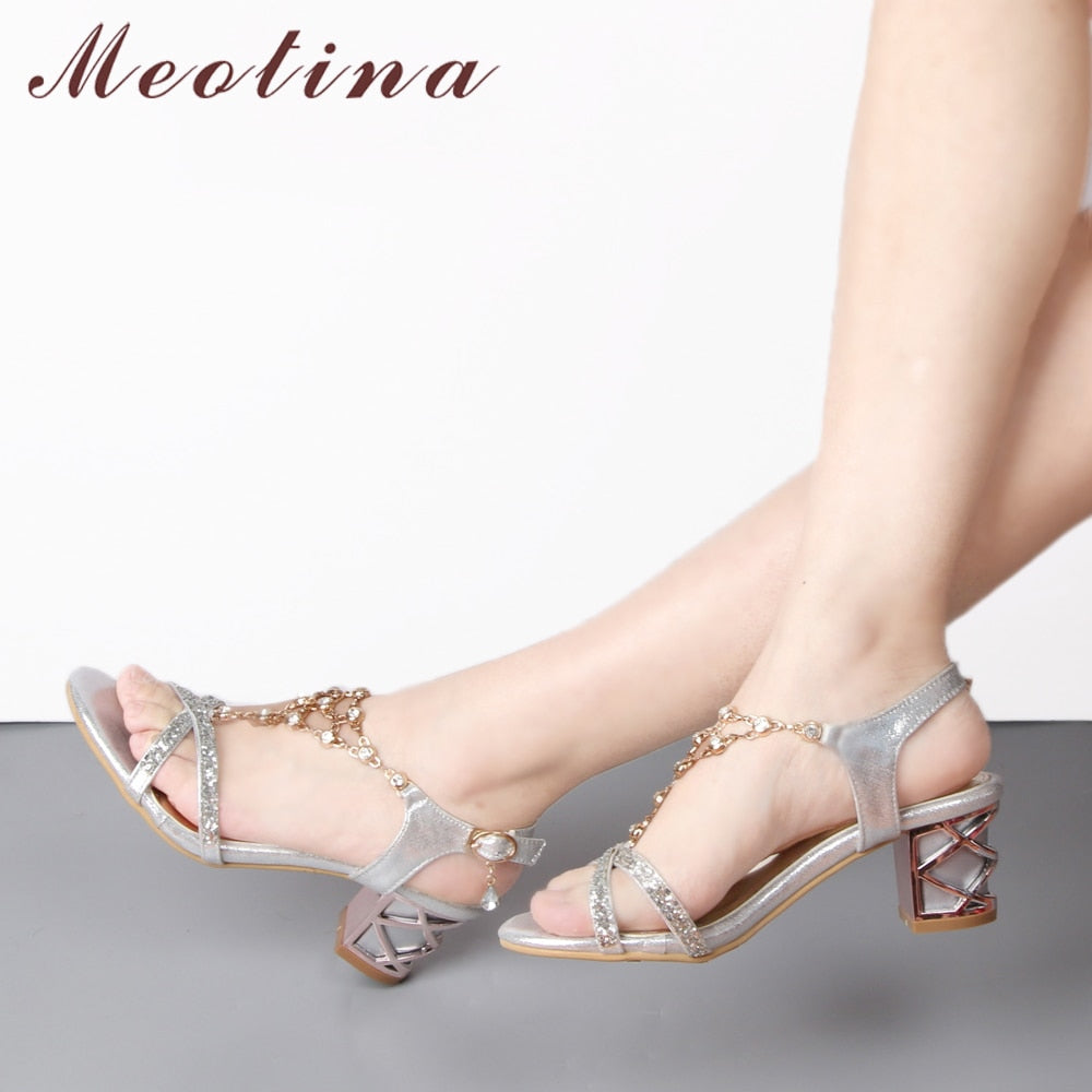Meotina Party Women Shoes Fashion Crystal Ladies Sandals