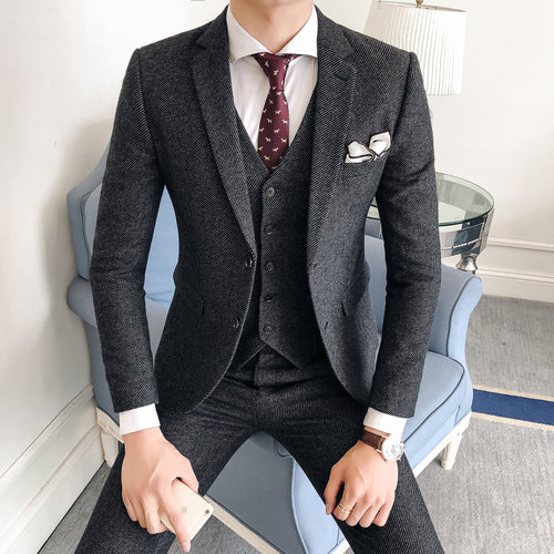 Wool and Polyester Twill Men's Grey Suit Jacket with Vest and Pants High Quality Men's Suit 3 Piece Set S-3XL