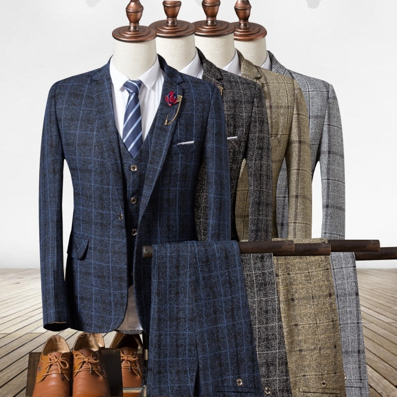 2019 Autumn Men's Plaid Suit Jackets with Suit Vests and Suit Trousers 4 Colors Choose Men Blazers with Waistcoat and Pants