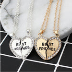 2 pieces / set Half love rhinestone pendant best friend necklace friendship gift