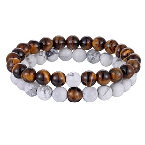 Hot 2pcs/set 7 Style Couples Distance Bracelet Natural Stone Yoga Beaded Bracelet for Men and Women