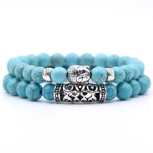 2pcs set  Black Lava Stone Prayer Beads Buddha Men Bead Bracelet