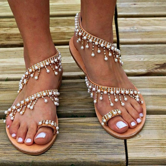 VTOTA Luxury Shoes Women Designers Flat Sandals