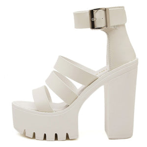 Gdgydh 2019 New Summer Shoes Women White Open Toe Button Belt Thick Heel