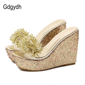 Gdgydh Rhinestone Wedges Sandals Women 2019 Summer Sexy Trifle Slides Casual Beading Open Toe Female Sandals Platform Shoes