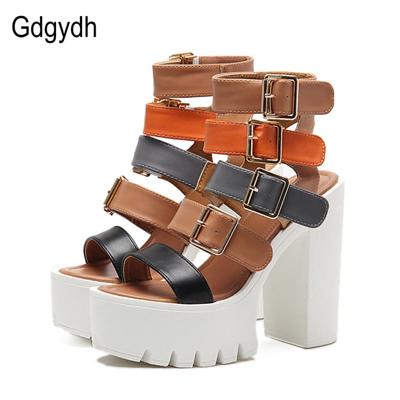 Gdgydh Women Sandals High Heels 2019 New Summer Fashion Buckle