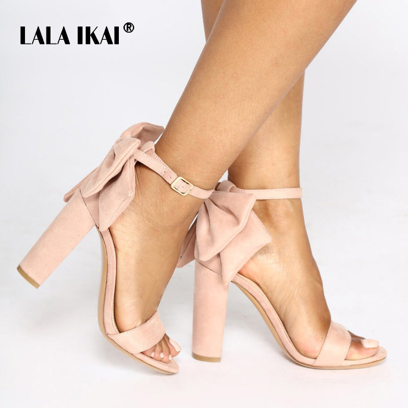 LALA IKAI Women Flock Buckle Strap Party Wedding Sandals Ladies Square Heels Butterfly-knot Decoration Summer Shoes 014C1889-5