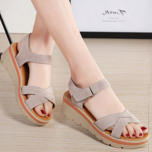 EOFK New 2019 Summer Women Sandals Comfortable Suede Leather