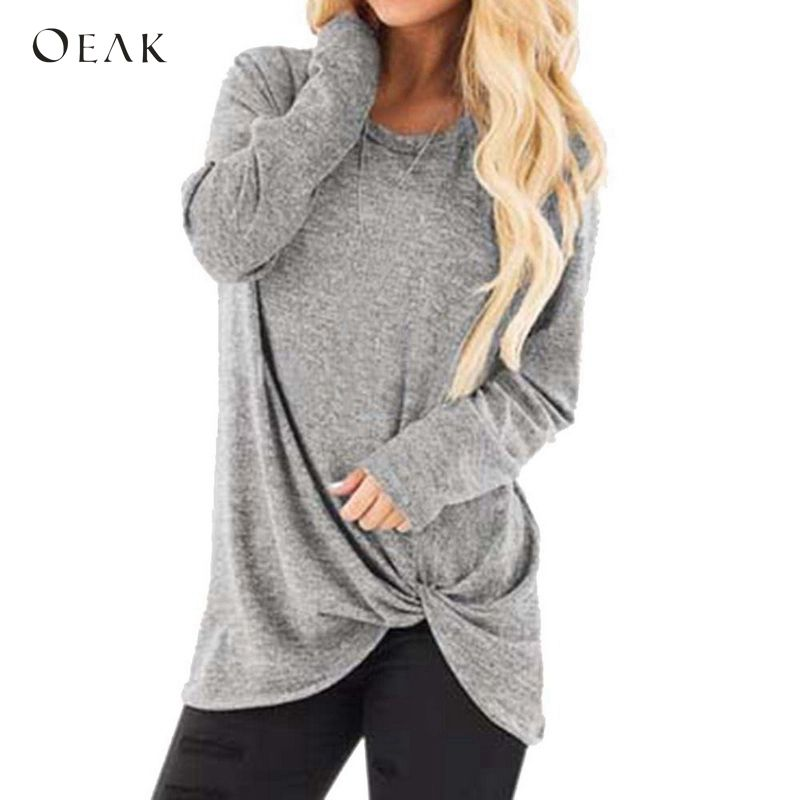 OEAK 2019 New Women's Autumn Long Sleeve T-Shirt Casual Loose Solid Twist Knot T-shirts Female Long Sleeve Tunic Tee Shirts Top