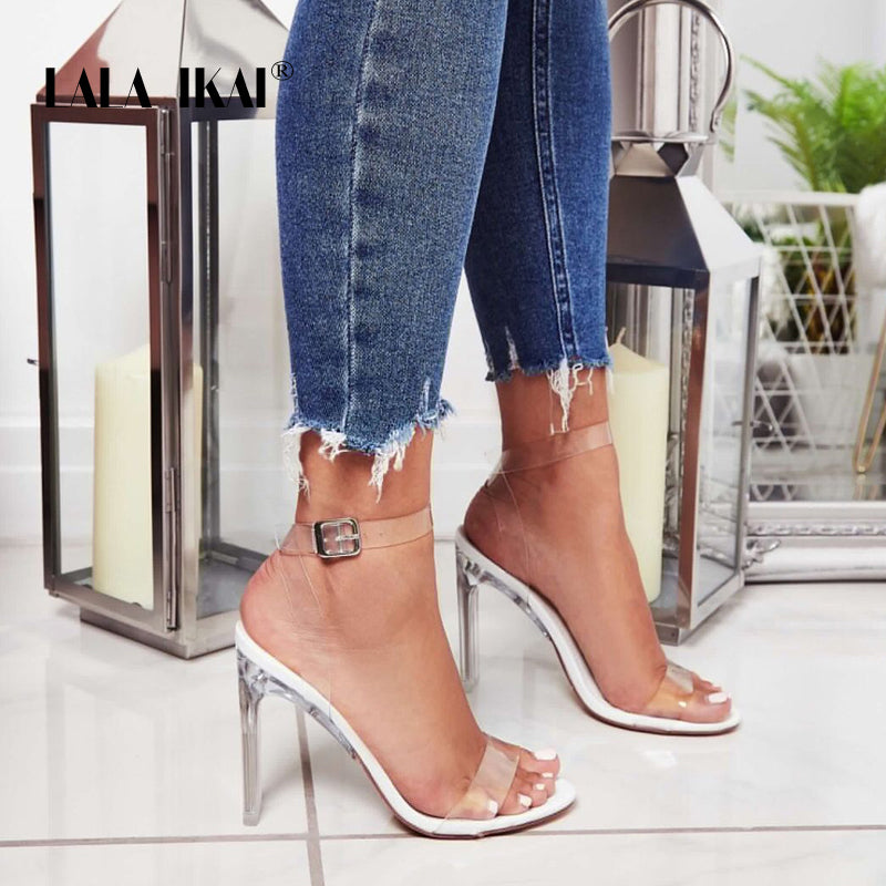 LALA IKAI Women Sandals High Heels Summer PVC Buckle Strap Ladies Transparent Shoes Thin Heel Sandalie Female 014C3269-45