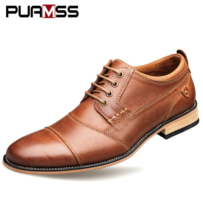 Brand Men Shoes Top Quality Oxfords British Style Men Genuine Leather