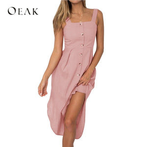 Oeak 2019 Women's Sleeveless Strap Holiday Irregular Off Shoulder Backless Dress
