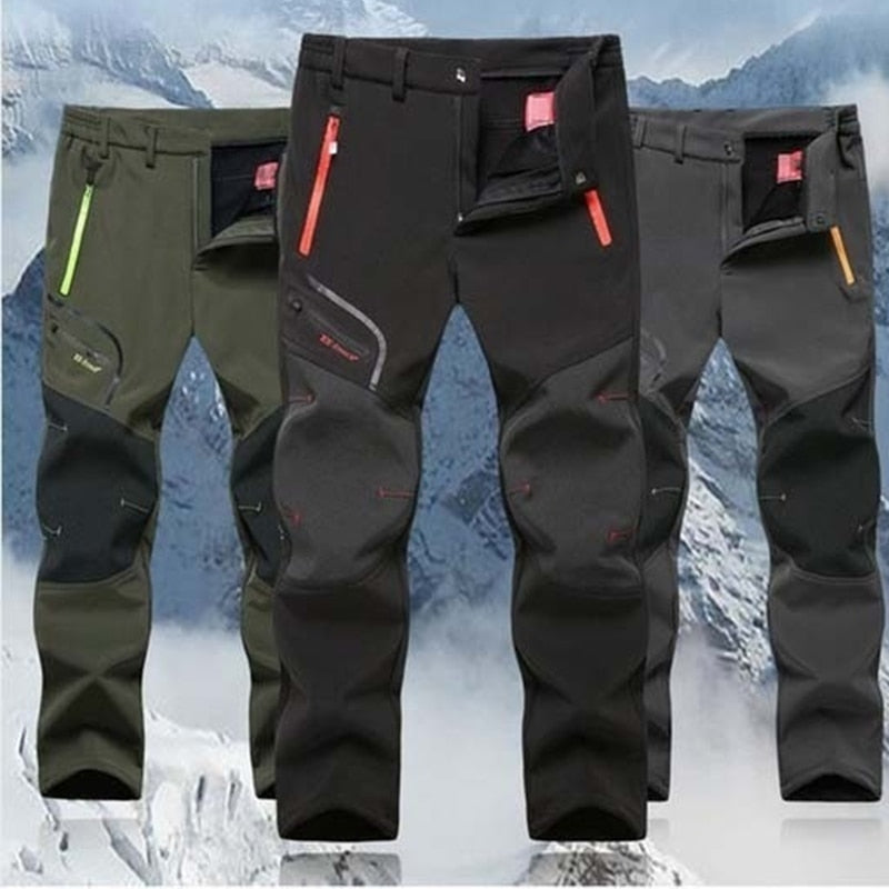 2019 Winter Men Cargo Pants Elastic Waist Travel Soft shell Trousers Waterproof