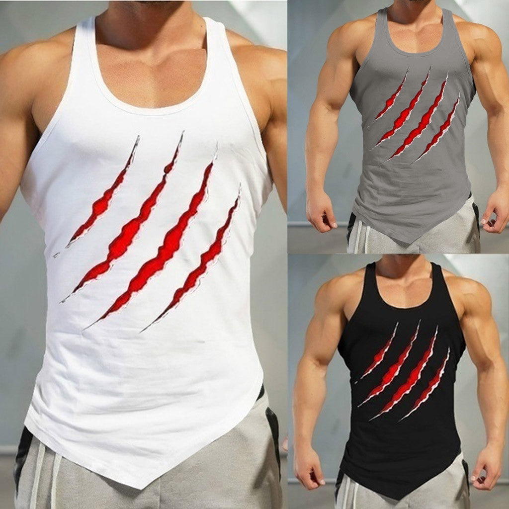 2019 Hot Sale Casual Gym Tank Top Men Fitness Muscle Print Sleeveless Bodybuilding