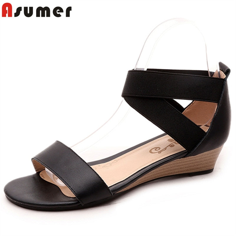 ASUMER  New 2019 genuine leather women sandals wedges low heel summer casual shoes