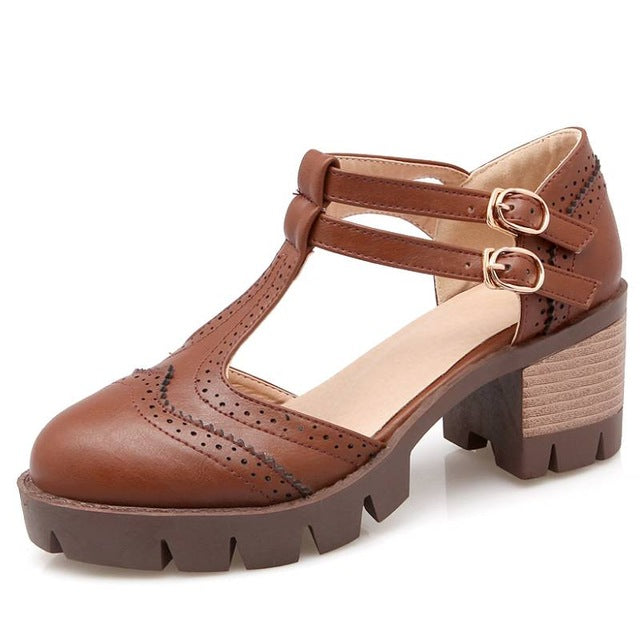 BONJO MARISA Big Size Rome T Straps Chunky Heels Summer Women Shoes