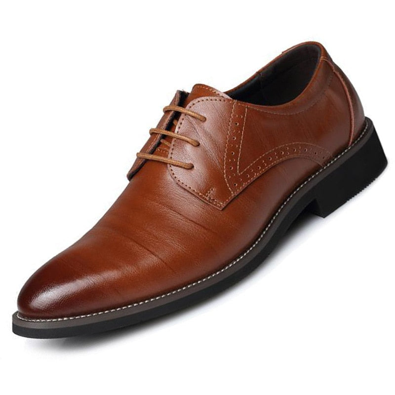 Genuine Cow Leather Brogue Wedding Business Mens Casual Flats Shoes