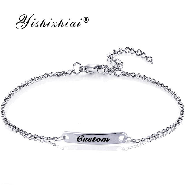 Custom Name ID Bar Bracelet Gold Stainless Steel Initial Charm Bracelets