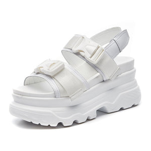 Summer Women Sandals Buckle Design Black White Platform Sandals Comfortable Women Thick Sole Beach Shoes 393w