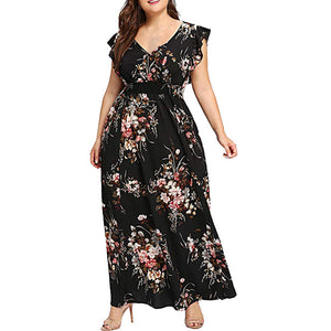 Women Plus Size Summer V Neck Floral Print Boho Sleeveless Party Maxi Dress