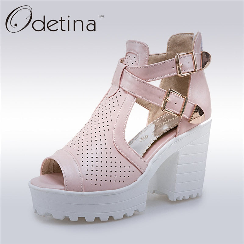 Odetina 2019 New Fashion Chunky Heel Sandals Women High Heel