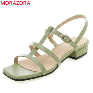 MORAZORA 2019 plus women sandals simple solid colors summer shoes square low heels