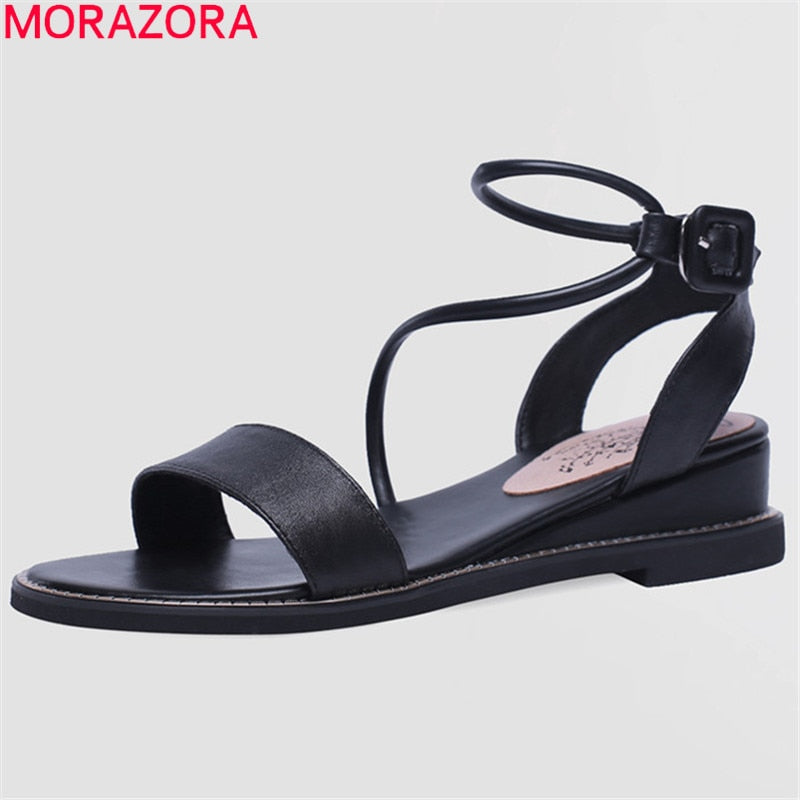 MORAZORA 2019 new arrival cow leather sandals women buckle solid colors summer shoes fashion wedges sandals woman casual shoes