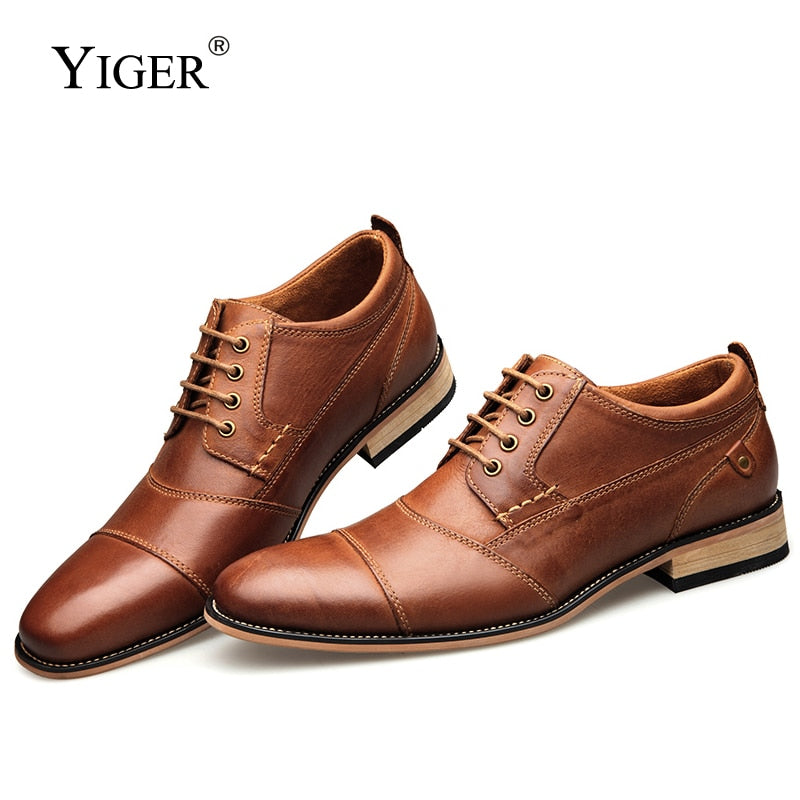 YIGER New Men Dress shoes formal shoes men's Handmade