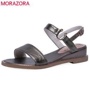 MORAZORA 2019 genuine leather women sandals female summer shoes buckle simple wedges shoes
