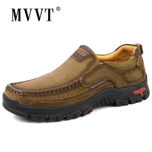 MVVT 100% Genuine Leather Shoes Men Cow Leather Casual Shoes Male Outdoor High Quality