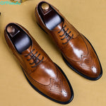 2019 New Men Dress Shoes Genuine Leather Male Oxford Italian Classic