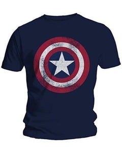 Fashion Men T-Shirts Captain America Distressed Shield Logo