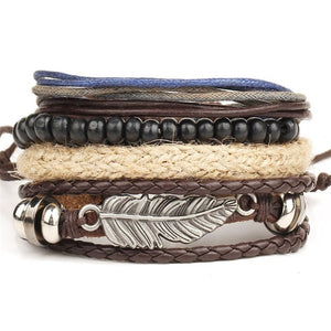 IF ME Vintage Leaf Feather Multilayer Leather Bracelet Men Fashion