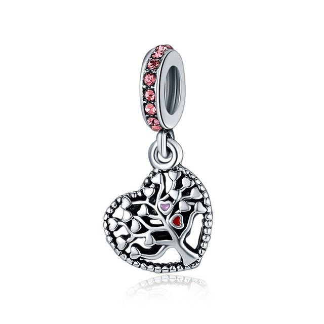 New Original Silver Plated Bead Alloy Family Mother Love Heart Pendant Charm Fit Pandora Bracelet