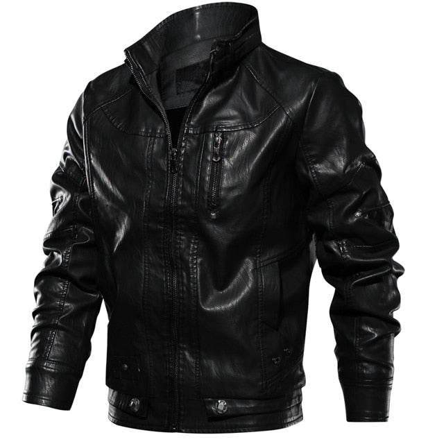 Brand Tactical PU Leather Jacket Men Euro Size S-XXL Stand Collar Motorcycle Leather Jacket Male jaqueta de Couro Dropshipping
