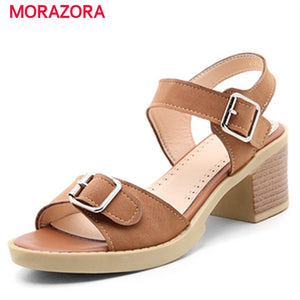 MORAZORA 5.5CM High heels shoes woman buckle non-slip summer shoes