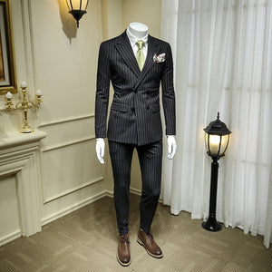 European and American Dark Grey Double-breasted Suit Men's Suits