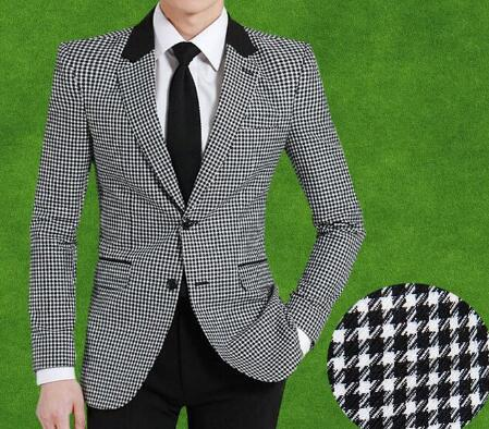 Men woolen suit jacket Slim fit bird plaid fashion coat New hot sale England style single breast high quality business jacket