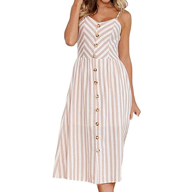 Oeak 2019 Strap V Neck Summer Dress Women Print Backless Party Pockets Casual Vestidos High Wasit Button Female Beach Dresses