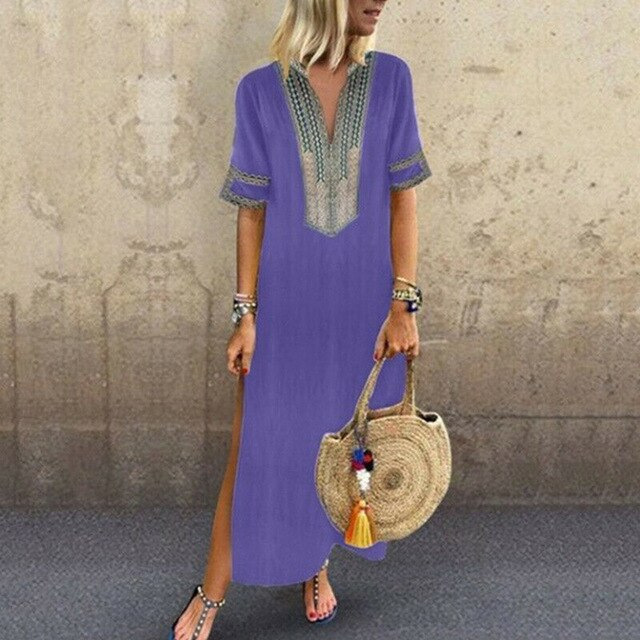 OEAK 2019 Summer Women Loose Long Dresses Short Sleeve