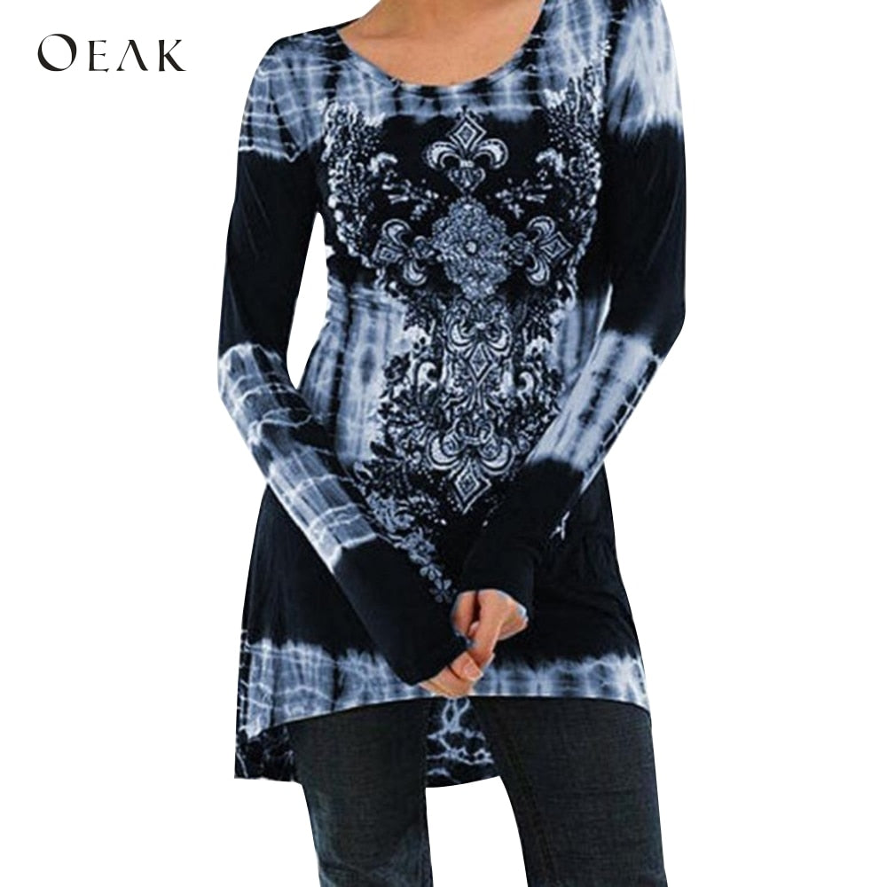 OEAK 2019 Women's Pullover Long Sleeved Loose Print Retro Casual Office Shirts
