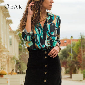 Oeak 2019 Summer Spring Women V Neck Loose Office Shirt