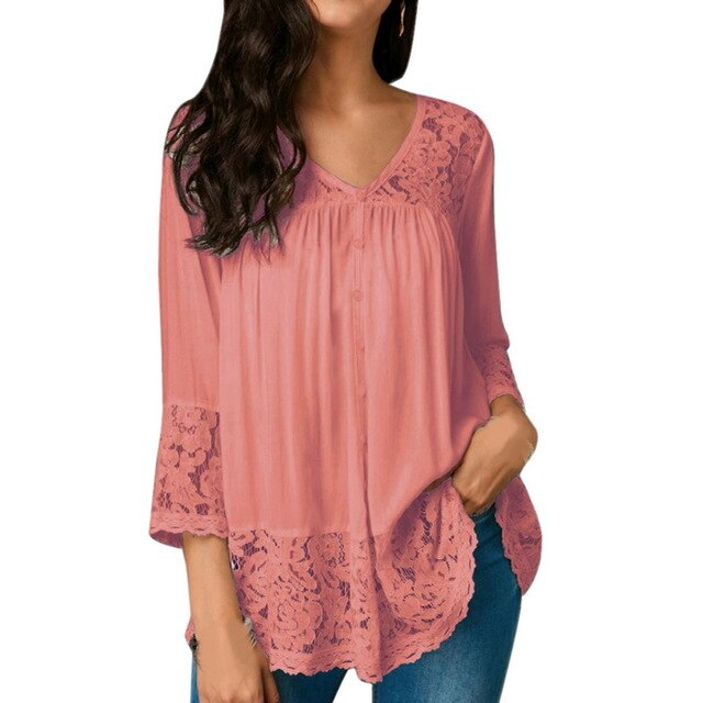 Oeak Summer Women V-neck Solid Long Sleeve Shirts Casual Loose Ruffle Tops Ladies Clothing Patchwork Lace Blouse Shirt 2019