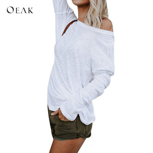 OEAK Off Shoulder Sexy T-Shirt Women Solid Long Sleeve Spring Autumn Top Tees Female Casual White Black Basic T-Shirts 2019
