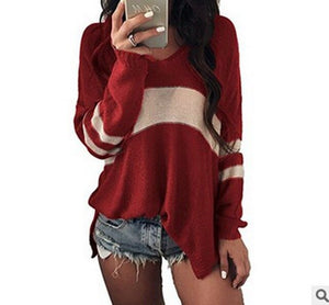 OEAK Fashion Women Long Sleeve V-Neck Sweater Autumn Loose Striped Knitted Sweaters Female Casual Plus Size Jumper Pullover 2019