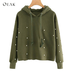 OEAK Autumn Winter Pearls Beading Sweatshirt Women Cotton Hooded Short Pullovers Female Casual Green Hoodies Sweatshirts 2019