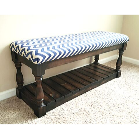 Navy chevron and wood bench
