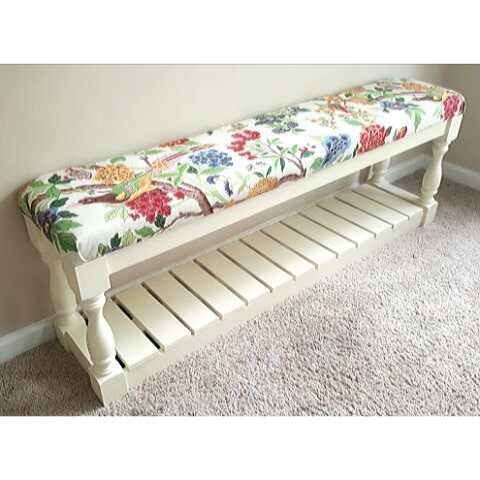floral bird fabric bench